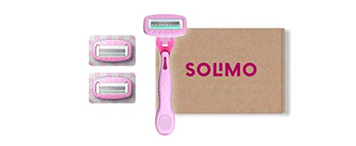 Marca Amazon - Solimo All-in-One Maquinilla de afeitar 4 hojas para mujer + 3 recambios