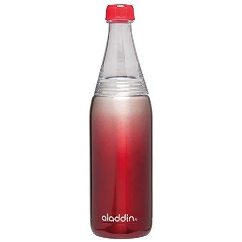Aladdin Fresco Twist & Go Edelstahl-Isolierflasche für Kaltgetränke, 0.6 Liter, Rot, Geeignet für Kohlensäure / Sprudel, Thermoflasche Wasserflasche Kühlflasche