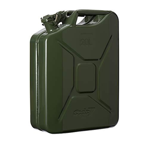 Oxid7® Bidón de Combustible Homologado de 20 Litros - Garrafa de Gasolina y Diésel en Metal con Aprobación de la ONU - Ideal para Viajes Largos; Uso de Cortacésped o Motosierra - Verde Oliva