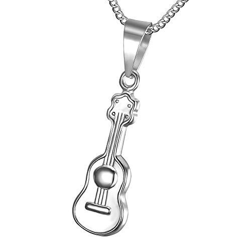Bobijoo Jewelry – kleine discrete hanger gitaar heren dames kinderen staal 316L zilveren halsketting ketting