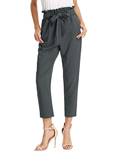 GRACE KARIN Women's Pants Trouser Casual Cropped Paper Bag Waist Pants S Charcoal Gray