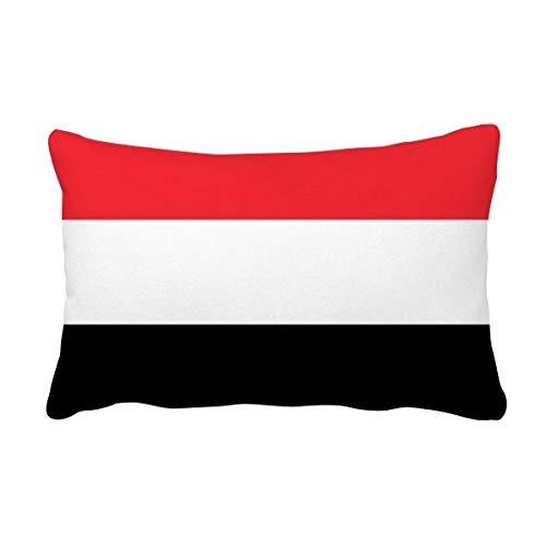 DIYthinker Jemen National Flagge Asien Land Werfen Lendenkissen Kissenbezug Startseite Dekor-Geschenk 16 Zoll x 24 Zolls Mehrfarbig