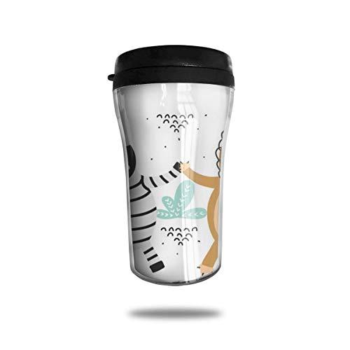 Taza de café de viaje con impresión 3D, taza de té, taza de agua aislada, taza de viaje para hombres, mujeres, niños, niñas, león y cebra