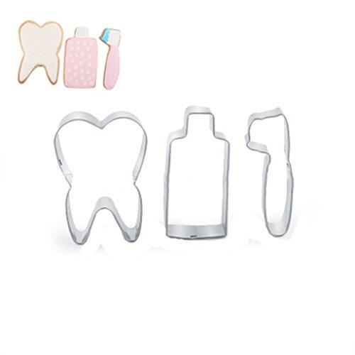 Chinget 3 STK Edelstahl Ausstechform Gebäck Biskuit Kuchen Dekorieren Küchenwerkzeuge Zahnpasta Zahn Zahnbürste Gestalten