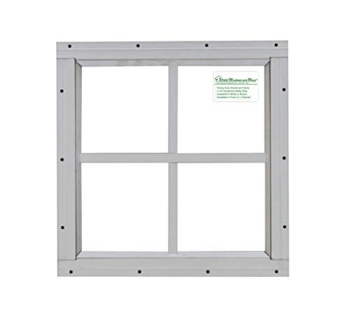 Shed Windows 12' x 12' White Flush Mount Safety Glass