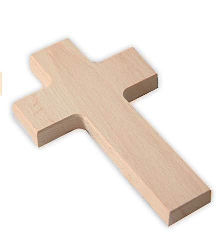 MaMeMi Wandkreuz aus Holz - Kreuz zum Bemalen & Gestalten, Buche Natur, leicht abgeschrägte Kanten
