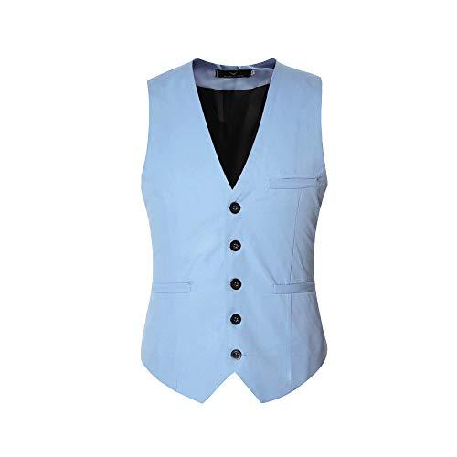 Herren Anzugweste Elegant Basic Weste Stilvoll Vest Regular Design (Hell Blau, 3XL)