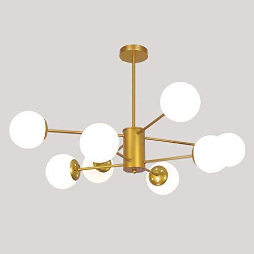 12 Luces Metal Lámparas De Araña,LED Montaje Al Ras Iluminación Colgante Con Sombra De Vidrio,Dorado Clásico Moderno Plafón Para Salón Comedor Dormitorio-Dorado. 8 luces