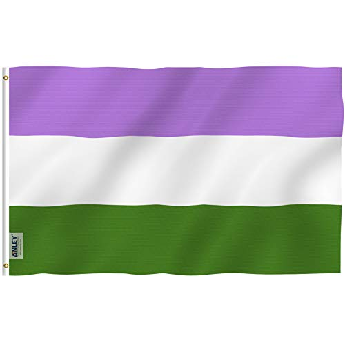 Anley Fly Breeze 3x5 Feet Genderqueer Flag - Vivid Color and UV Fade Resistant - Canvas Header and Double Stitched - LGBT Genderqueer Pride Flags Polyester with Brass Grommets 3 X 5 Ft