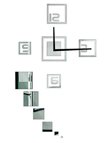 Relógio de Parede, Modelo Quadrado Acrílico Me Criative RFE Espelhado Prata Pacote de 1