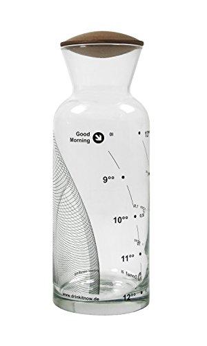 drinkitnow Wasserkaraffe 1 Liter Glas Welle schwarz Nussbaum