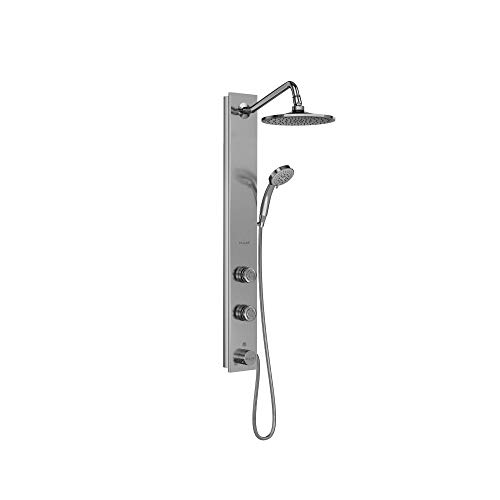 "PULSE ShowerSpas 1021-SSB Aloha System with 8"" Rain Showerhead, 2 Pulsating Body Spray Jets and 5-Function Hand Shower, Brushed Stainless Steel with Chrome Fixtures"