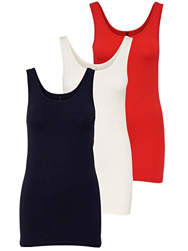 ONLY 3er Pack Damen Oberteile Basic Tank Tops weiß, schwarz, grau, blau, Creme Frauen Shirt lang Sommer Shirts Top 15201465 (M, FarbMix 5)