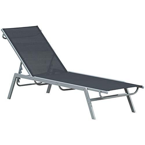 Outsunny Bain de Soleil transat - Chaise Longue - Design Contemporain - Dossier inclinable Multi-Positions - métal époxy textilène Noir - dim. 170 x 58 x 97 cm