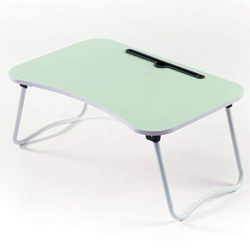 KNJF Adjustable Laptop Desk Table Lapdesk Computer Table Multiple Colors Laptop Stand Portable Bed with Foldable Legs Wooden Material Suitable for Home and School (Color : Green, Size : 60x40x28cm)
