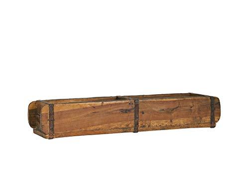 BigDean Alte Ziegelform 57x15x9,5 cm - Zweikammer - Vintage Holzkiste mit Metallbeschlägen - Echte, benutzte Form aus Indien aus Altholz gefertigt - Jedes Stück EIN Unikat