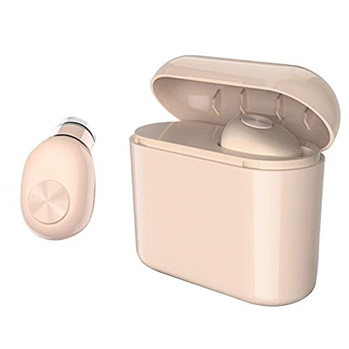 Efanr Wireless Bluetooth Earphone Mini in-Ear Invisible Bluetooth Headset with Charging Case Mic Headsets for Smartphones (Nude-700mAh)