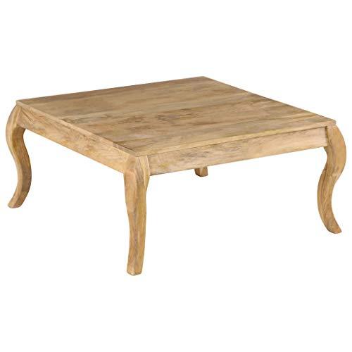 Festnight Couchtisch | Holz Wohnzimmertisch | Rustikal Sofatisch | Wohnzimmer Holztisch | Vintage Kaffeetisch | mit Geschwungenen Beinen | Mangoholz Massiv 80 x 80 x 40 cm