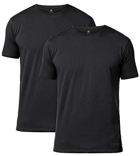 LAPASA 2 Camisetas para Hombre de Algodón ELS Manga Corta (S (Largo 70, H-H 43, Pecho 89-94 cm), Negro2 (Cuello Redondo))