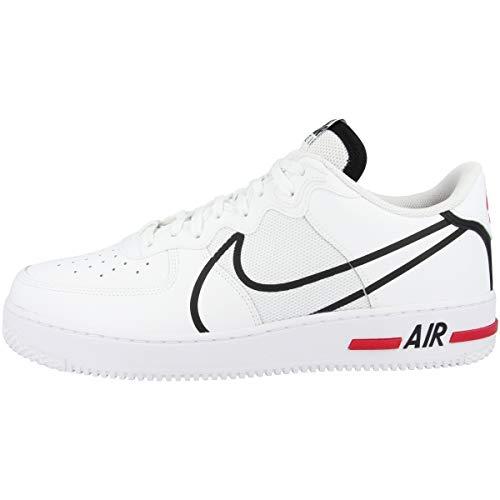 Nike Herren Air Force 1 React Basketballschuh, White/Black-University red, 41 EU