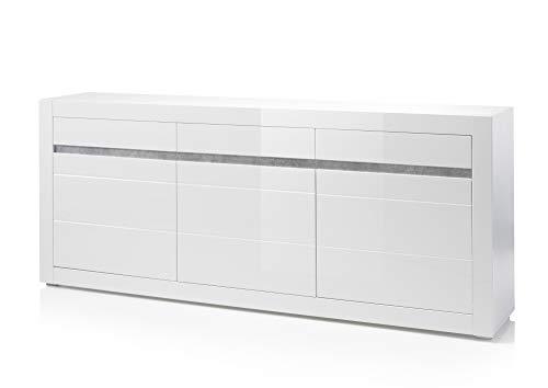 Newfurn Sideboard Kommode Modern Anrichte Highboard Mehrzweckschrank II 217x90x 42 cm (BxHxT) II [Finn.Twelve] in Weiß/Weiß Hochglanz Wohnzimmer Schlafzimmer Esszimmer