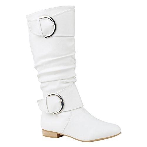 Damen Stiefel Klassische Langschaft Boots Schuhe 144285 Weiss Schnallen 38 Flandell