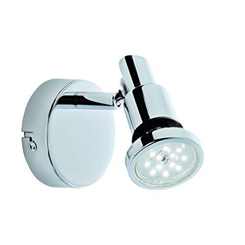 Briloner Leuchten - Faretto a LED, lampada da parete, luce da bagno, lampada da bagno, IP44, faretto girevole e inclinabile, 1x GU10, 4 Watt, 400 Lumen, 3.000 kelvin, cromato, 80x106mm (DxH)