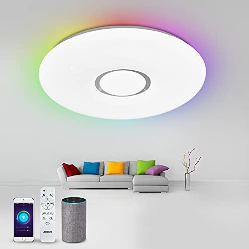 Alexa Deckenlampe LED, Smart Wlan Deckenleuchte JDONG Dimmbar(RGB + Kalt bis Warmweiß 3000-6500K), Steuerbar via App, Kompatibel mit Alexa , kein Hub Erforderlich
