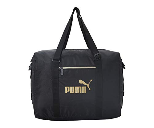 PUMA WMN Core Seasonal Duffle Bag Bolsa Deporte, Mujeres, Black-Gold, OSFA