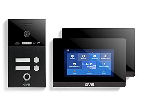 GVS IP Video Türsprechanlage, Unterputz-Türstation IP65 mit RFID und Fingerprint, 2X 7 Zoll Monitor, App, HD-Kamera 156°, Türöffner-Fkt, 32GB Speicher, PoE-Switch, 2 Familienhaus Set, AVS5288U