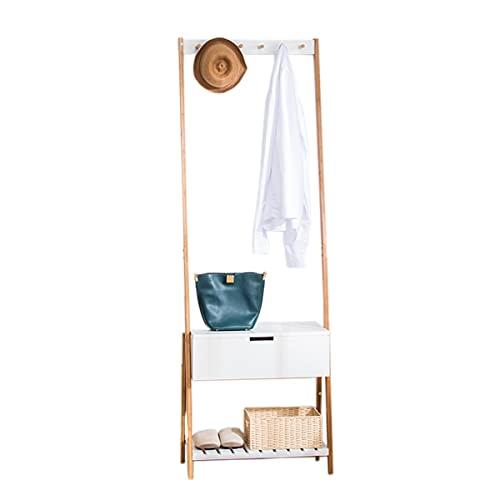 LLLD Perchero De Bambú Resistente con Cajones para Colgar Ropa Estante De Almacenamiento De Ropa Perchero para Colgar Ropa para Dormitorio Entrada Sala De Estar (Size : 56 * 34 * 178cm)