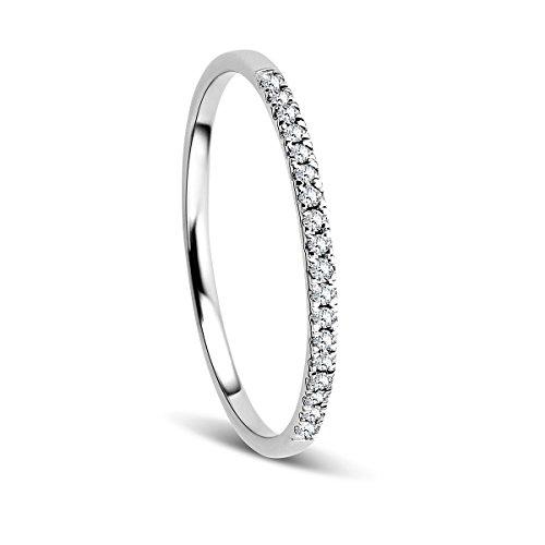 Orovi Anello Donna Eternity/Veretta in Oro Bianco con Diamanti Taglio Brillante Ct 0.08 Oro 9 Kt / 375