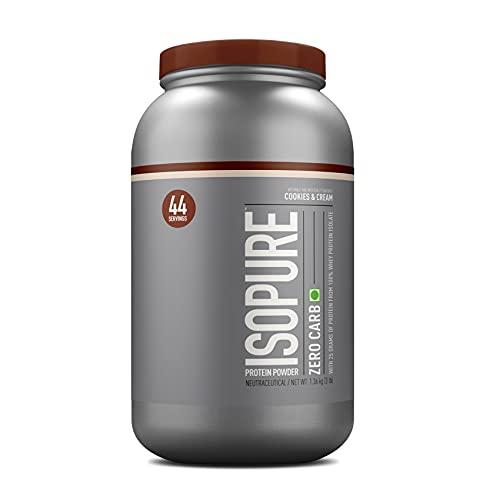 Isopure Zero Carb 100% Whey Protein Isolate Powder - 3 lbs, 1.36 kg (Cookies & Cream), 25g Protein per serve, Lactose-Free,...