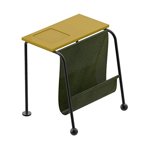 Life Equipment Mesas auxiliares Mesa auxiliar de metal Diseño único moderno Muebles de oficina en casa Mesa auxiliar estilo loft con porta revistas y área de almacenamiento adicional (Color: Azul T