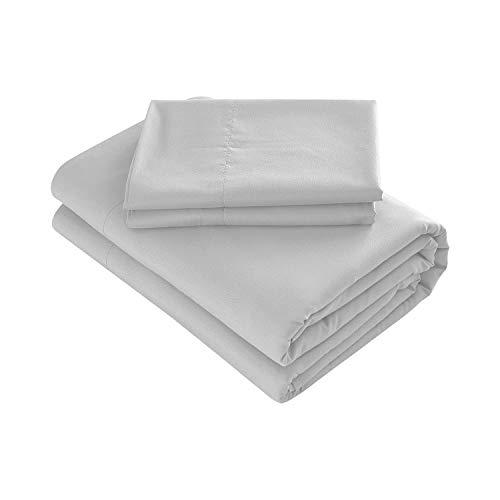 Prime Bedding Bed Sheets - 4 Piece Queen Sheets, Deep Pocket Fitted Sheet, Flat Sheet, Pillow Cases - Queen Sheet Set, Light Gray