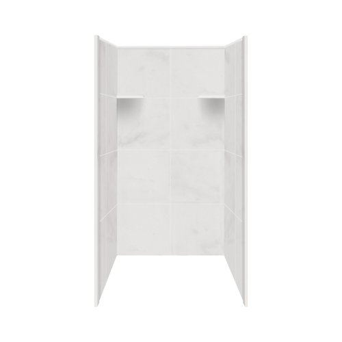 shower wall materials Samson RBE3667-91 Solid Surface Shower Wall Kit, 36-Inch x 36-Inch x 72-Inch, White Carrara