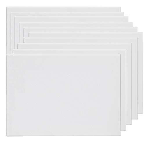 ALLPER Pack de 6 lienzos 40 x 50 cm de 100% algodón apto para óleo, acrílico y mixto, pre-estirado, color BLANCO. Libre de ácido.