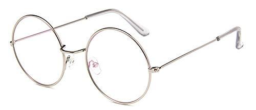 LHKQ Retro Vintage Klare lens Rund brille ohne stärke John Lemon brille Metallrahmen Brillen Nerd Brille Deko Brillenfassung (Silber)