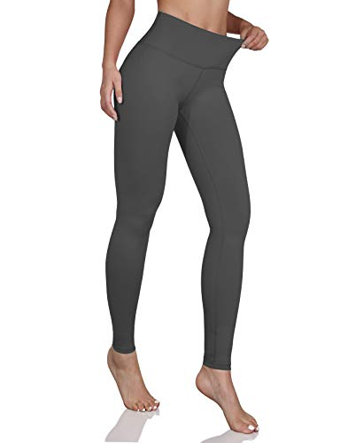 ODODOS Women's Mid Waisted Yoga Pants with Pocket, Full-Length Yoga Leggings Workout Pants with Pockets,Gray,Medium