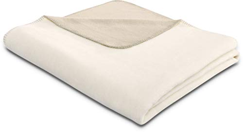 biederlack® flauschig-weiche Kuschel-Decke aus Baumwolle & Dralon I Made in Germany I Öko-Tex I nachhaltig produziert I Couch-Decke Cotton Doubleface in Ecru-Feder I Sofa-Decke in 150x200 cm