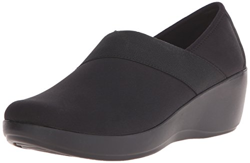 crocs Women's Busy Day Stretch Asymmetrical Wedge , Black/Black, 8 M US