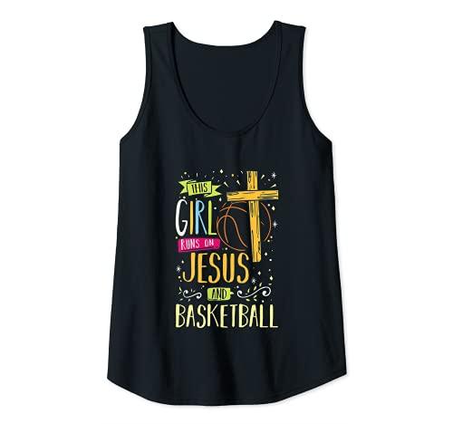 Mujer Religioso - Esta chica corre en Jesús y jugador de baloncesto Camiseta sin Mangas