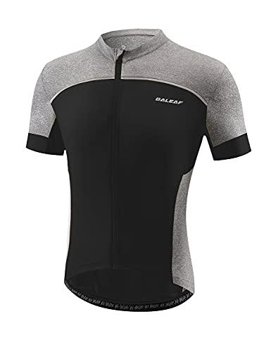 BALEAF Men's Cycling Jersey Short Sleeve Mountain Bike Shirts Full Zipper Tops Pockets Breathable Reflective UPF 50+ Black 2XL