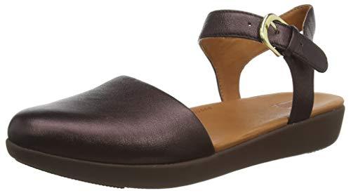 FitFlop Cova II Quarter Strap-Leather, Merceditas para Mujer, Marrón (Chocolate Metallic 806), 38 EU
