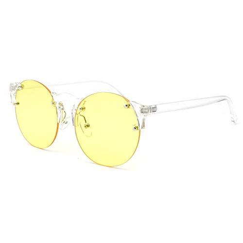 Glqwe Klassische Sonnenbrille, Unkompliziert Ozean Tablet Persönlichkeit Sonnenbrille Transparent Stave Spiegel Frameless Sonnenbrille (Color : D)