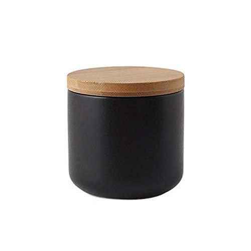 Modernes Design Keramik Vorratsglas Kanister für lose Tee Kaffee Spice Nuts Snacks Gewürze usw, Vorratsbehälter Kaffeedosen mit luftdichtem Verschluss Bambusdeckel (Schwarz 9.15oz/260ml)
