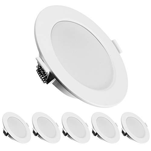 KINGSO 6 Pack LED Spots Encastrables Extra Plat Ultra-mince IP44 6W 500lm Remplacer Halogène 60W Blanc Chaud 3000K AC 230V Spots de Plafond Lampe Plafonnier pour Salle de Bain Salon Cuisine Couloir