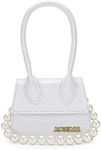 LEOCEE Mini monederos y bolsos de mano Jacquemus para mujer Bolso bandolera de marca famosa Bolsos de mano de diseñador de lujo Patrón de cocodrilo-White_Stone_Pattern_Pearl