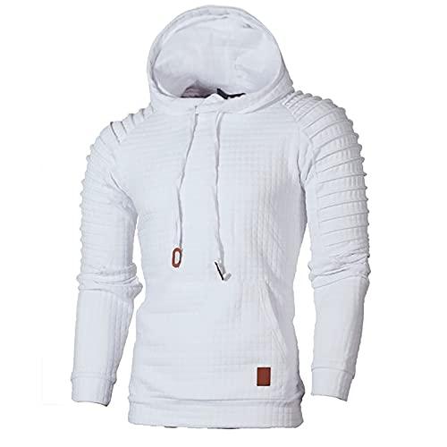 BGUK Sudadera con capucha para hombre, de manga larga, informal, a cuadros, para otoño e invierno, Blanco, XXL