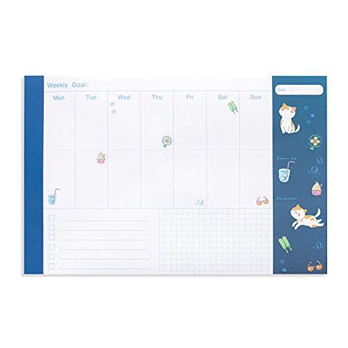 LxwSin Bloc Planificador Semanal, Organizador Semanal, 54 Hojas Planificador de Escritorio / Calendario Semanal / Bloc Notas Semanal para Organizar Metas, Tareas, Notas, Citas y Tareas Pendientes